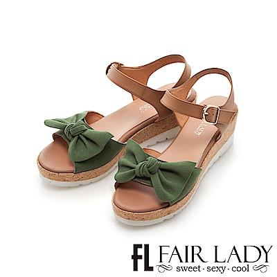 Fair Lady 蝴蝶結飾露趾楔型厚底涼鞋 綠