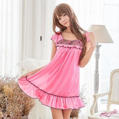 性感睡衣 甜美桃紅柔緞小蓋袖式性感睡衣(粉紅F) Lorraine