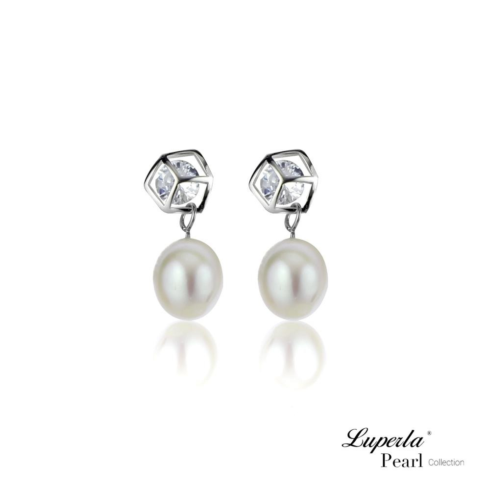 大東山珠寶 純銀晶鑽珍珠耳環 經典時尚
