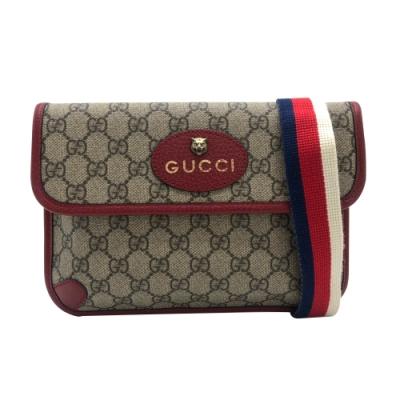 GUCCI GG Supreme belt bag 紅邊牛皮虎頭斜背/腰包(493930-棕)