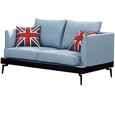 品家居 羅瑟尼現代藍亞麻布獨立筒二人座沙發椅-160x96x74cm免組
