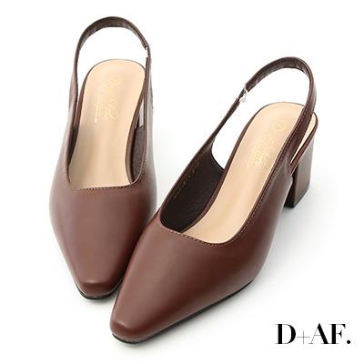 D+AF 韓系風尚.素面微尖頭後空中跟鞋*咖