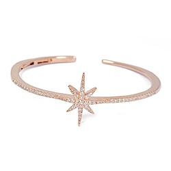 apm MONACO法國精品珠寶 閃耀玫瑰金繁星鑲鋯C字開口手環手鐲