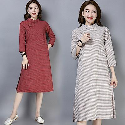 民族格子盤扣連衣裙-共2色(M-XL可選)    NUMI  森