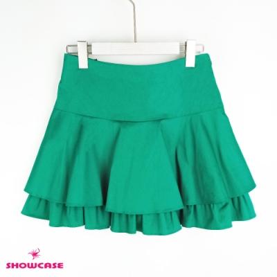 【SHOWCASE】浪漫傘襬雙層荷葉短褲裙-綠