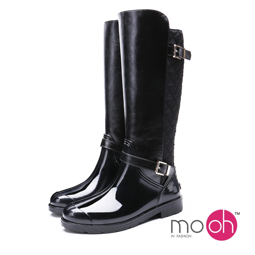 mo.oh愛雨天-皮帶扣保暖長筒防水雨鞋-黑色