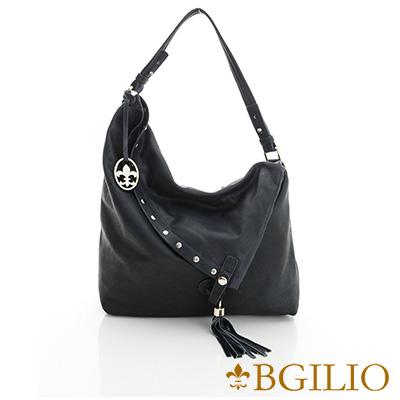 義大利BGilio-義大利水染牛皮流蘇波西米亞肩背包-深藍色2111.004A-09B