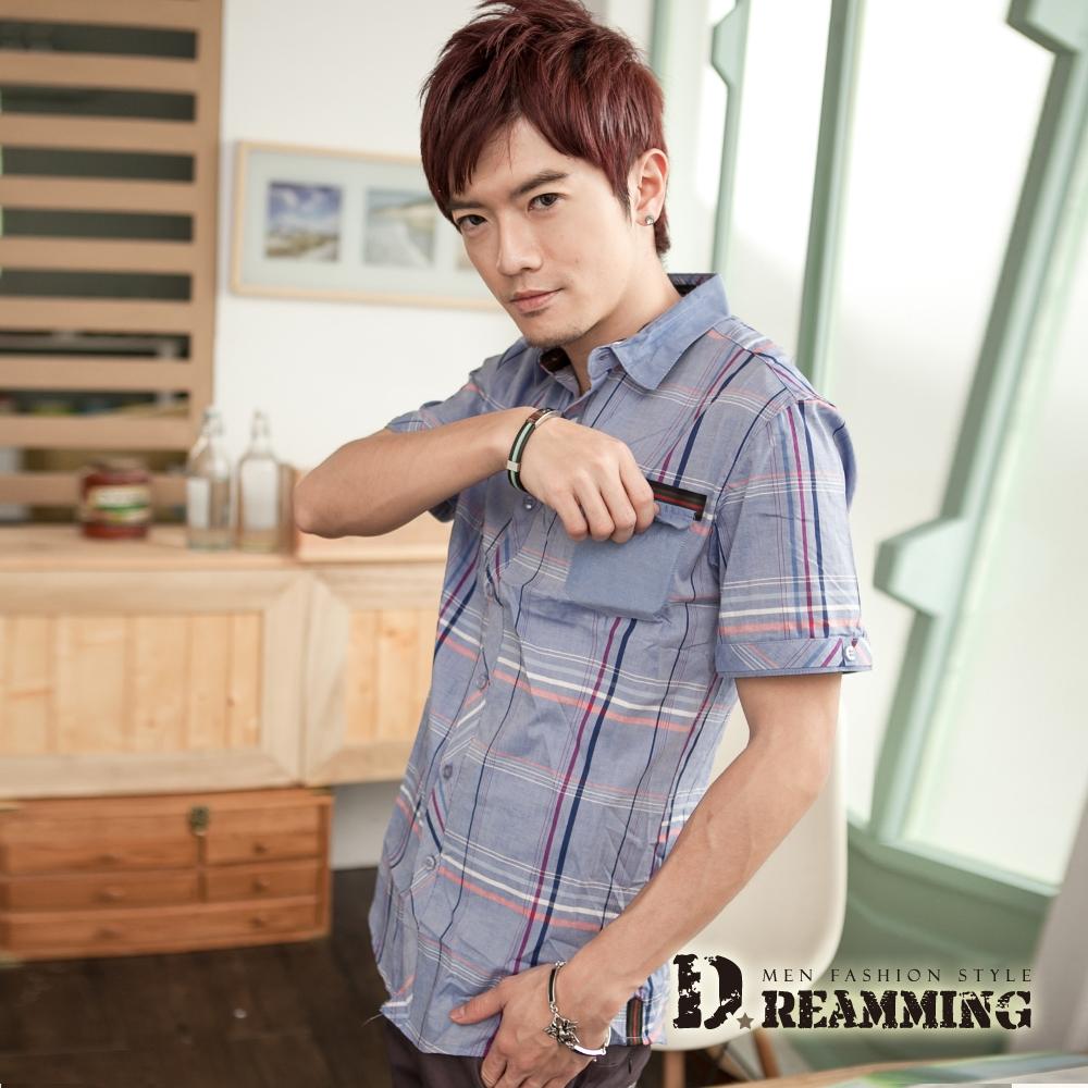 Dreamming 英倫線條格紋短袖襯衫-藍色