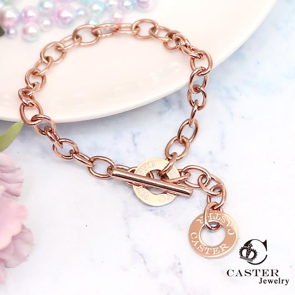 日本 凱斯特 CASTER 幾何鏈 玫瑰金手鍊 防抗過敏 SUS316L頂級不鏽鋼飾品 手