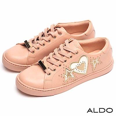 ALDO 原色美式塗鴉綴金屬鉚釘圓珠綁帶式休閒鞋~裸粉紅色