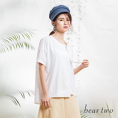 beartwo 斜邊可調式領口設計造型上衣(二色)