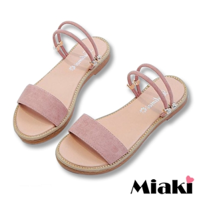 Miaki-涼鞋一字造型2穿平底拖鞋-粉