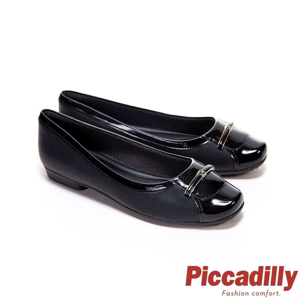 Piccadilly 方頭 金橫釦漆皮同色滾邊拼接 娃娃鞋 淑女鞋 包鞋 黑