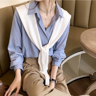 中大尺碼素色兩側直線壓條氣質顯瘦開釦襯衫L~4L-Ballet Dolly