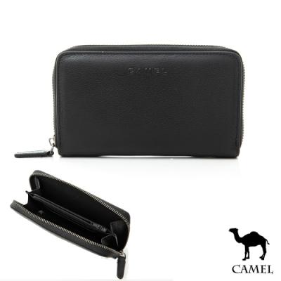 CAMEL - 經典荔枝紋精品牛皮可掛腰拉鍊中夾手機包
