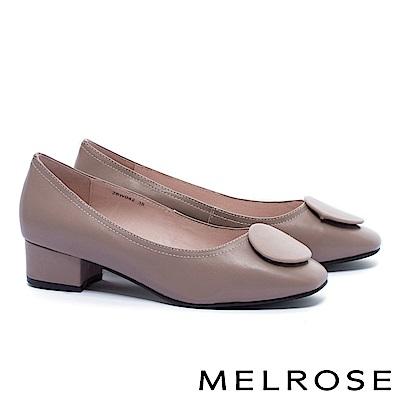 高跟鞋 MELROSE 復古典雅質感圓釦羊皮方頭粗跟高跟鞋-米
