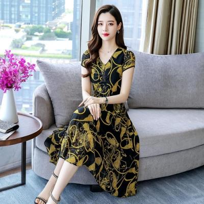 韓版時尚印花雪紡洋裝M-3XL(共兩色)-REKO