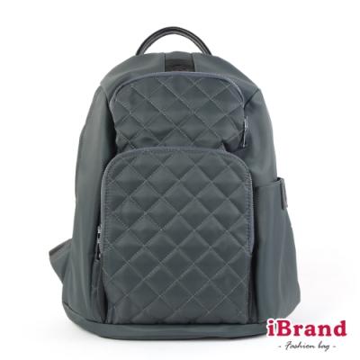 iBrand後背包 率性菱格紋後開式防盜尼龍後背包(M)-自信灰