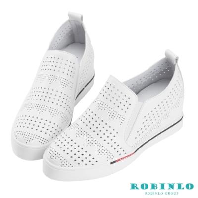 Robinlo 美式圖騰沖孔牛皮內增高休閒鞋 白色