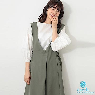 earth music 【SET ITEM】V領打摺吊帶洋裝+蓬袖素面上衣