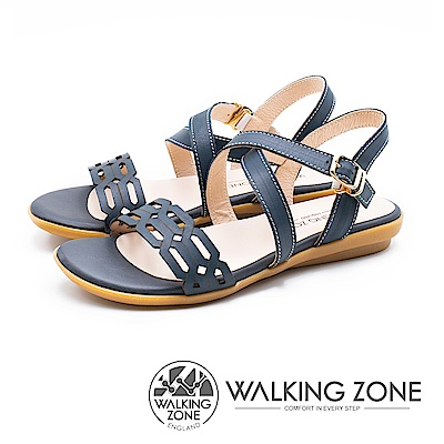 WALKING ZONE 質感鍊條壓紋交叉釦帶涼鞋 女鞋 - 深藍(另有米)