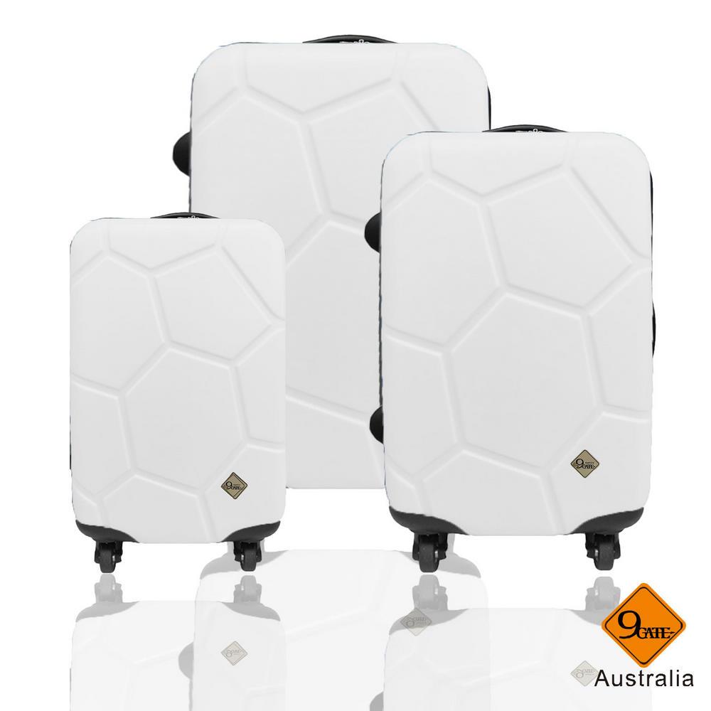 Gate9 足球系列經典三件組28吋24吋20吋 輕硬殼旅行箱行李箱-白色