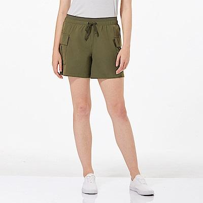 【HAKERS 哈克士】女 抗UV快乾彈性短褲-橄綠