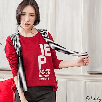 EELADY-字母兩側開叉可拆帽巾針織衫-紅