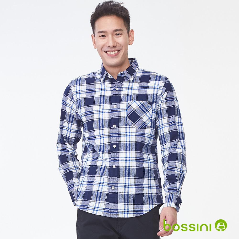bossini男裝-長袖法蘭絨格紋襯衫02海藍