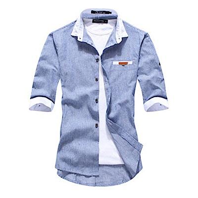 BuyGlasses 都會白領袖條紋七分襯衫