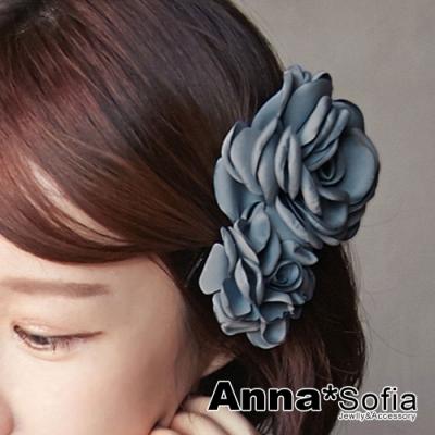 【滿520打7折】AnnaSofia 圓馨雙綣花 純手工中型髮飾髮夾(灰藍系)
