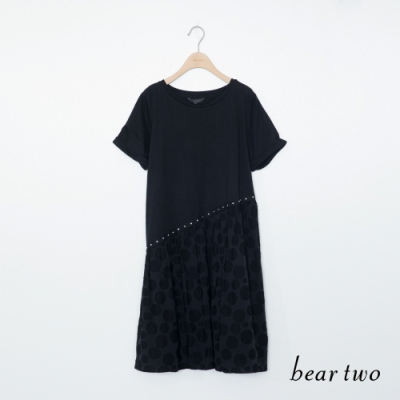 beartwo-同色圓點裙襬洋裝-黑