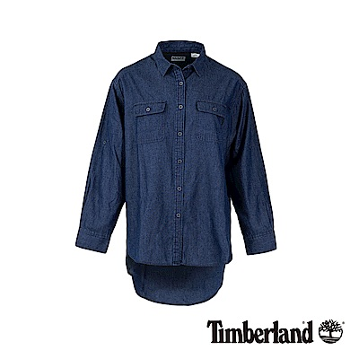 Timberland 女款淺藍七分袖牛仔襯衫|B3601