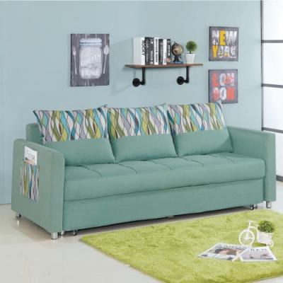 文創集 蜜拉現代灰亞麻布三人沙發/沙發床(拉合式機能設計)-211x87x78cm免組