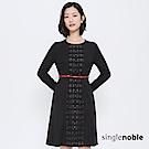 獨身貴族 文藝優雅拼接蕾絲圖騰洋裝(附腰帶)(2色)