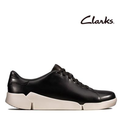 Clarks 運動行風 小圓頭真皮綁帶三瓣底輕量休閒鞋 黑色