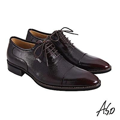 A.S.O職場通勤 菁英通勤異材質綁帶牛津紳士鞋-酒紅