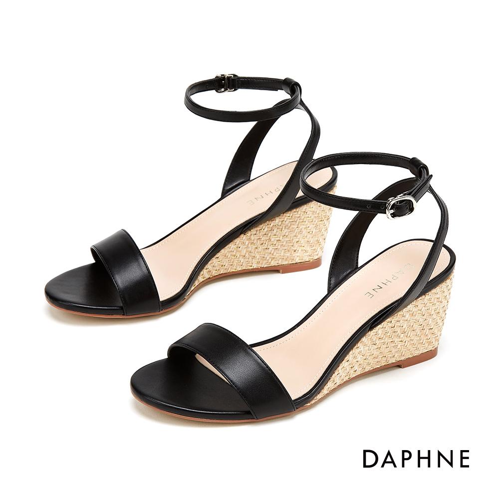 達芙妮DAPHNE 涼鞋-簡約一字帶編織楔形涼鞋-黑色