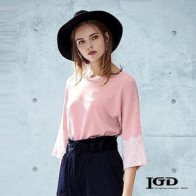 【IGD 英格麗】優雅縫珠蕾絲拼接七分袖上衣 -粉