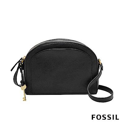 FOSSIL CHELSEA 真皮極簡風斜背饅頭包-黑色