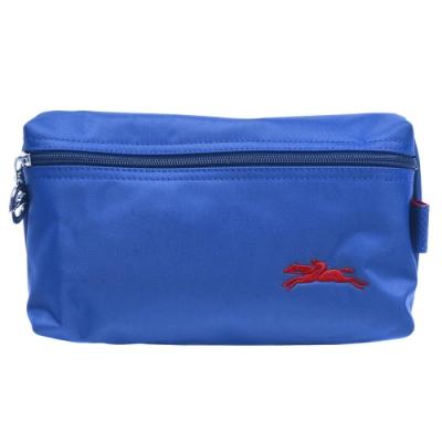LONGCHAMP 經典LE PLIAGE系列奔馬刺繡圖騰拉鍊萬用化妝包(藍紫色)