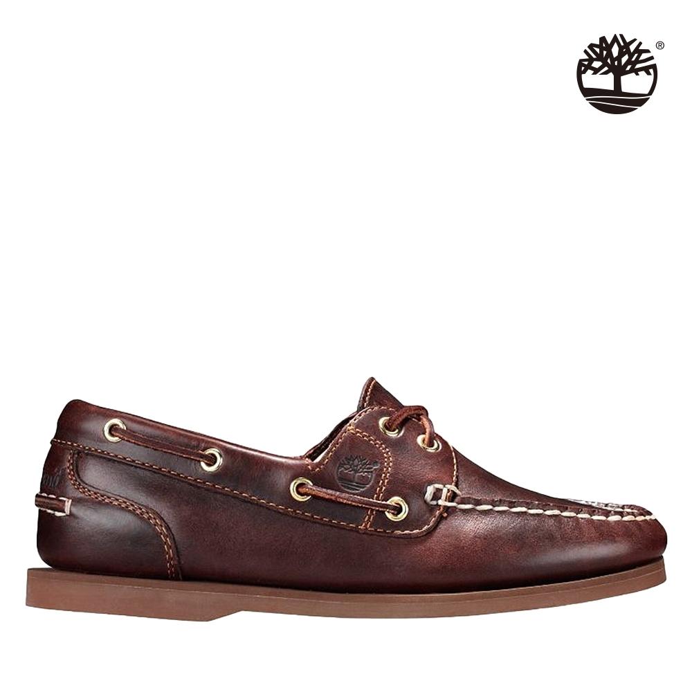 Timberland 女款深棕色全粒面經典帆船鞋|72333