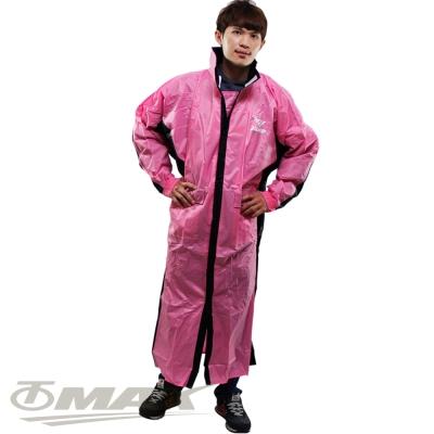 JUMP新二代新帥前開式休閒風雨衣-粉紅黑+通用鞋套