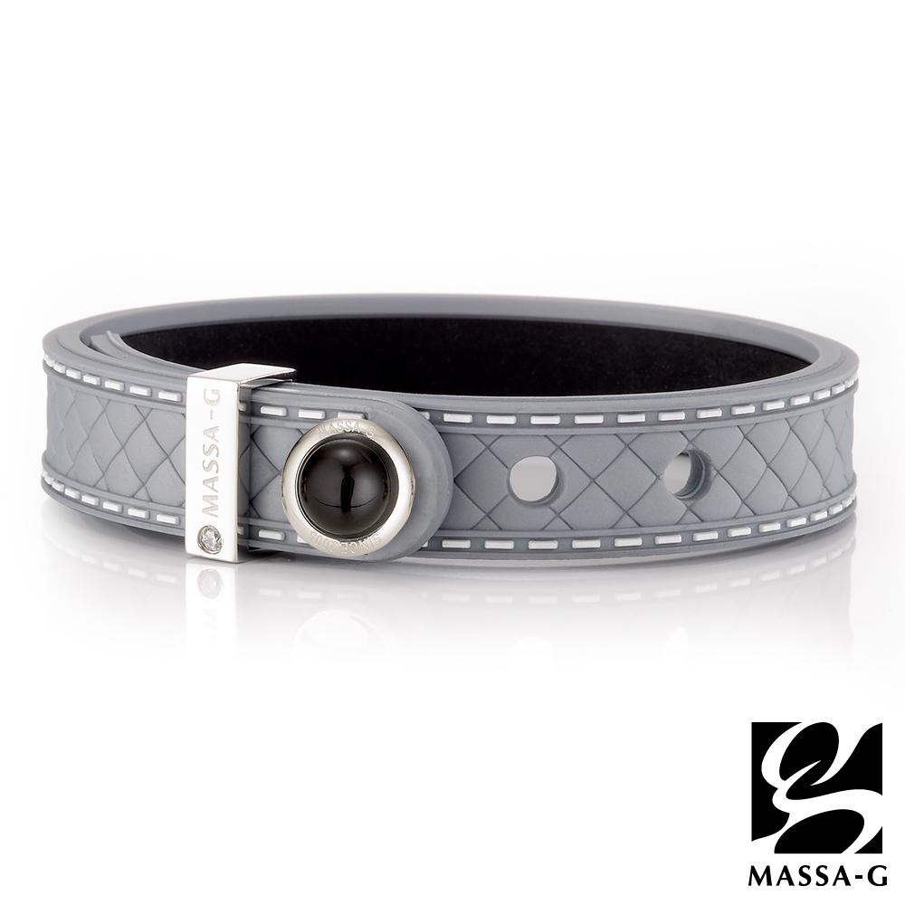 MASSA-G ONLY U唯你天然石鍺鈦手環-品牌菱格紋(銀)