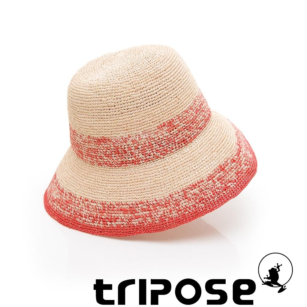tripose AGNES 100%手工Raffia時尚遮陽草帽-帽簷8cm(玫紅色)