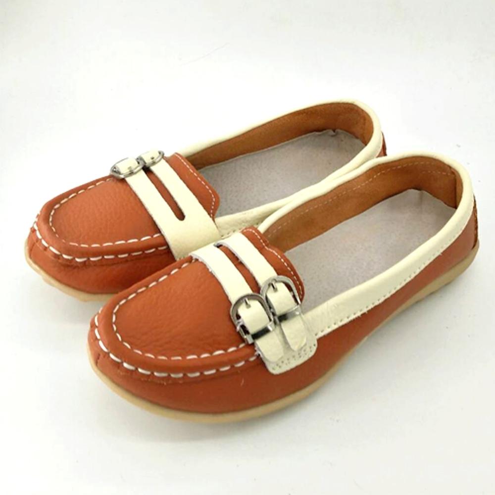 韓國KW美鞋館-(現貨)雙色樸素雙扣造型真皮鞋(共2色) (橘)