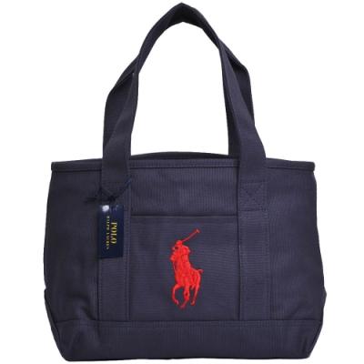 POLO Ralph Lauren 經典大馬LOGO圖騰刺繡釦式中型肩背托特包(深藍)