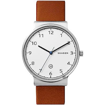 SKAGEN Ancher 創意簡約石英錶-白x咖啡色錶帶/40mm (SKW6433)