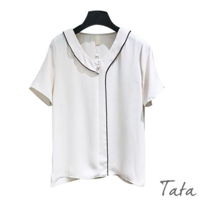 寬鬆V領線條雪紡上衣 共二色 TATA-F