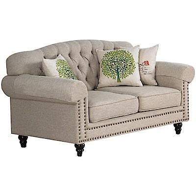 文創集 波巴現代法式布質二人座沙發椅-163x93x87cm免組